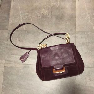 Burgundy Wine DVF 'Harper' bag with gold details